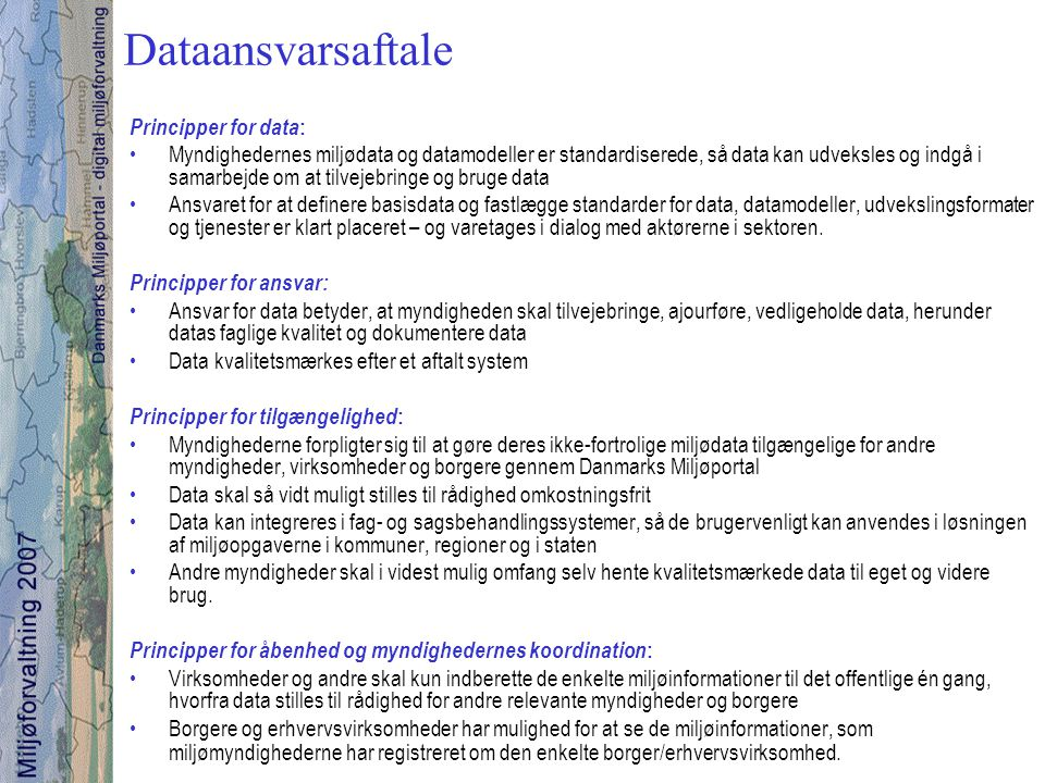 Dataansvarsaftale Principper for data: