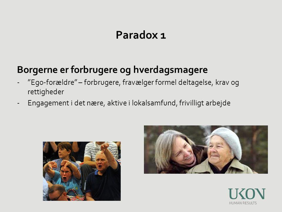 Paradox 1 Borgerne er forbrugere og hverdagsmagere