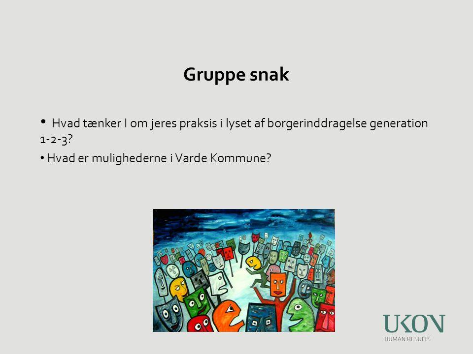 Gruppe snak Hvad tænker I om jeres praksis i lyset af borgerinddragelse generation 1-2-3.