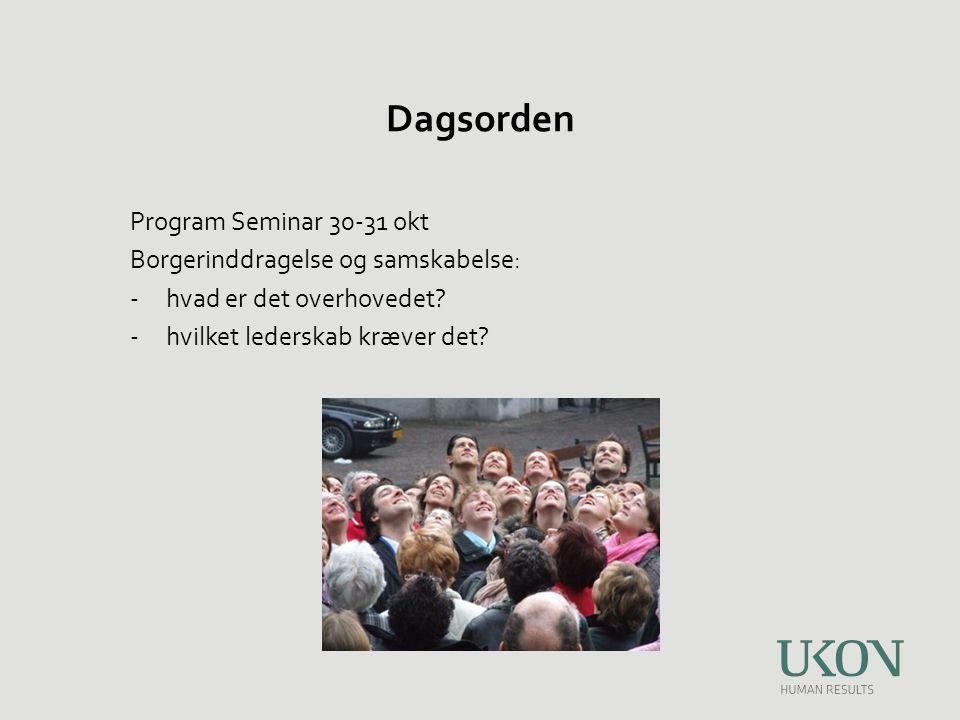 Dagsorden Program Seminar 30-31 okt Borgerinddragelse og samskabelse: