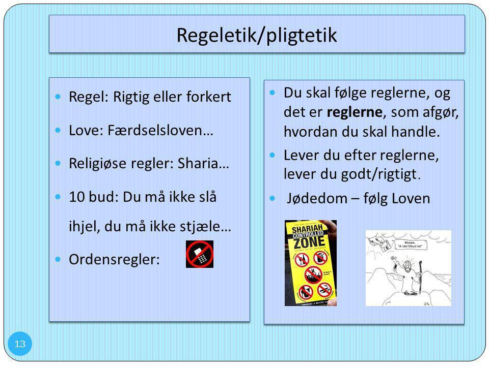 Regeletik/pligtetik Regel: Rigtig eller forkert