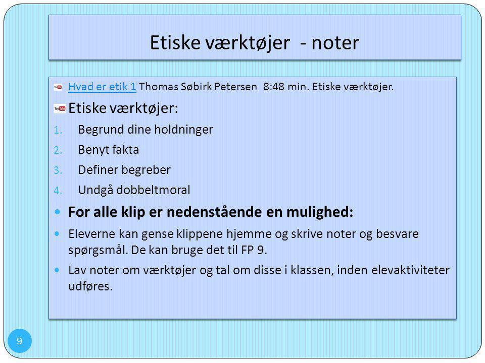 Etiske værktøjer - noter