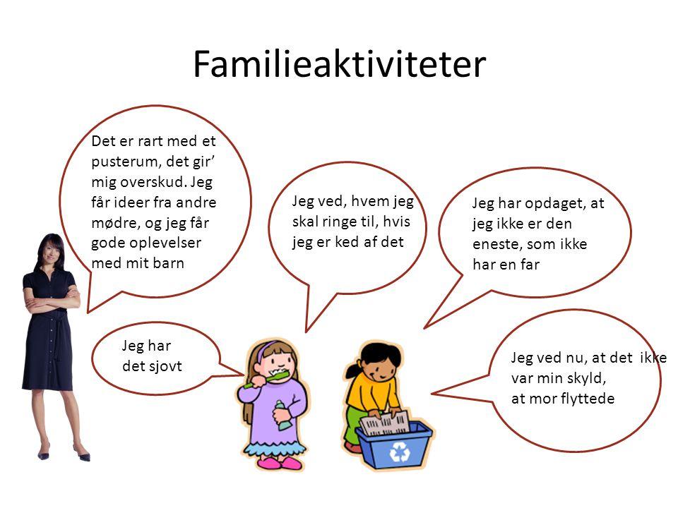 Familieaktiviteter Det er rart med et pusterum, det gir' mig overskud. Jeg får ideer fra andre mødre, og jeg får gode oplevelser med mit barn.