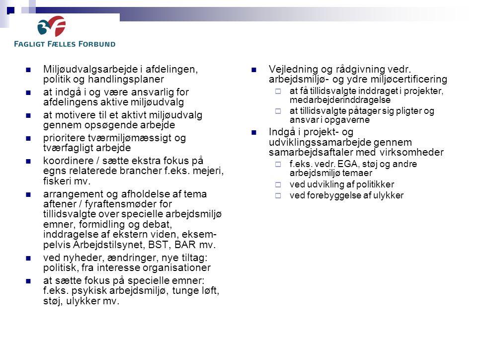 Miljøudvalgsarbejde i afdelingen, politik og handlingsplaner