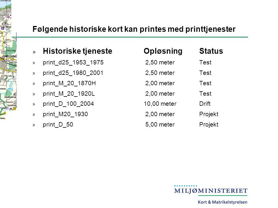 Følgende historiske kort kan printes med printtjenester