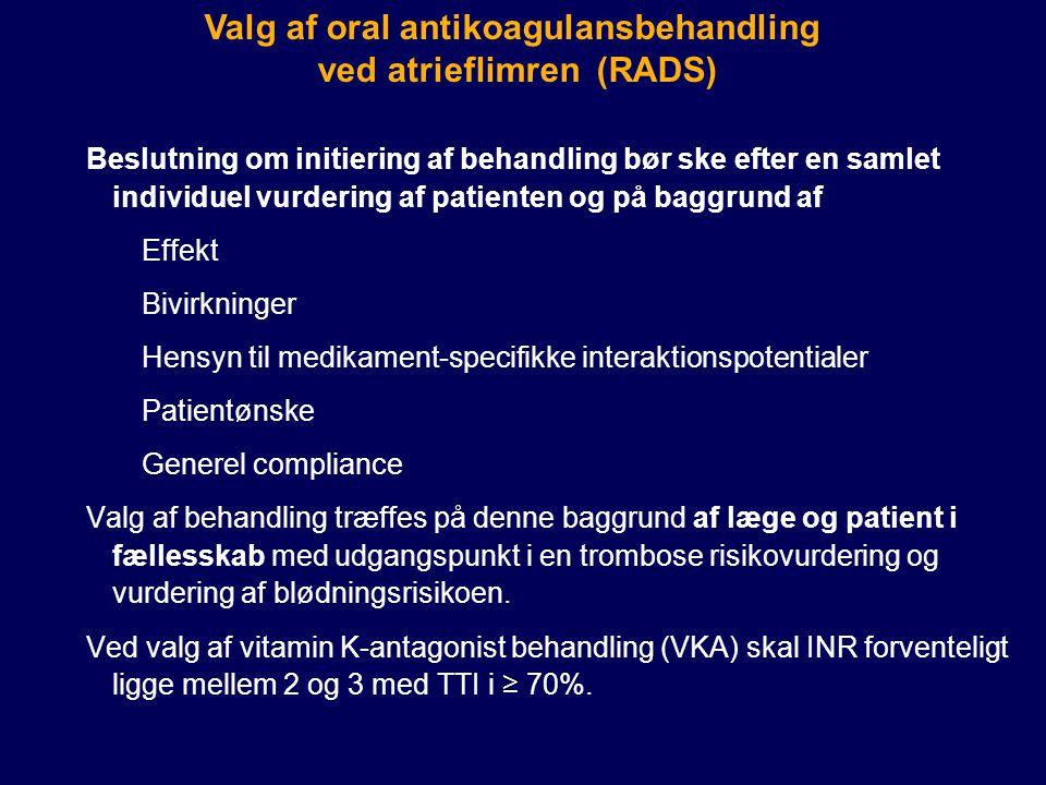 Valg af oral antikoagulansbehandling ved atrieflimren (RADS)