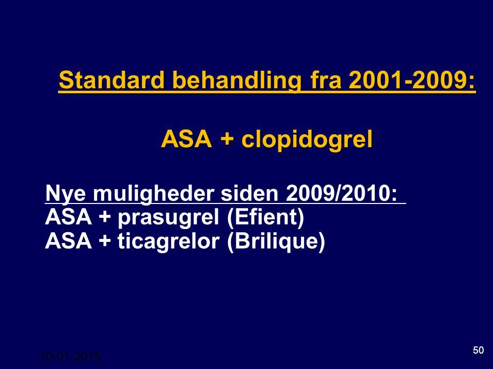 Standard behandling fra 2001-2009: ASA + clopidogrel