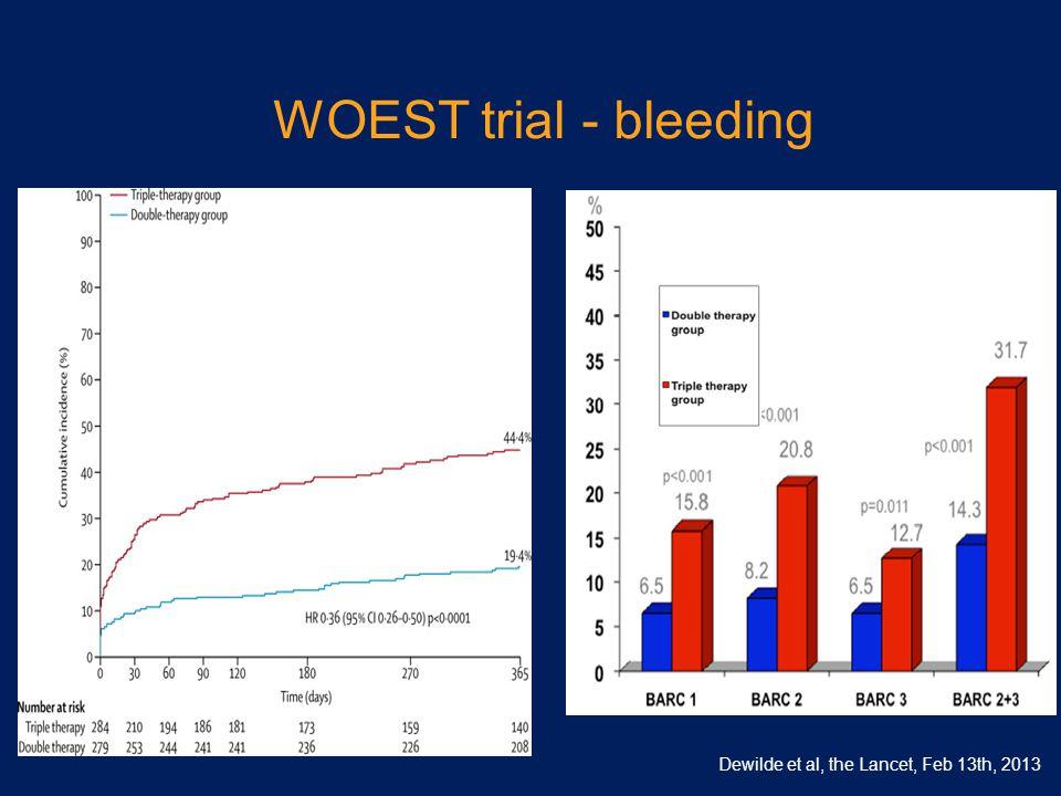 WOEST trial - bleeding Dewilde et al, the Lancet, Feb 13th, 2013 63