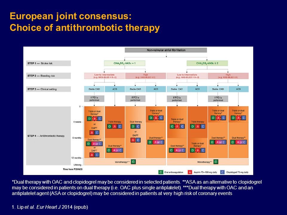 European joint consensus: Choice of antithrombotic therapy