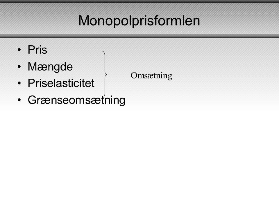 Monopolprisformlen Pris Mængde Priselasticitet Grænseomsætning
