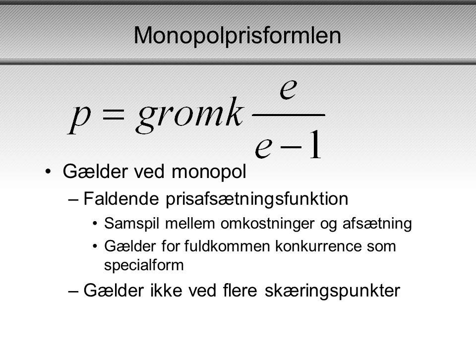 Monopolprisformlen Gælder ved monopol Faldende prisafsætningsfunktion