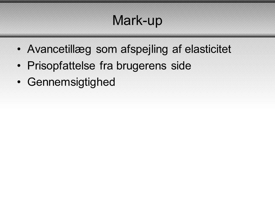 Mark-up Avancetillæg som afspejling af elasticitet