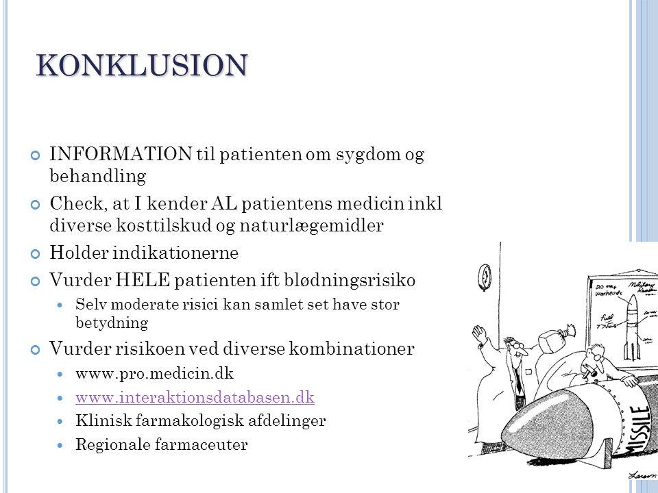 konklusion INFORMATION til patienten om sygdom og behandling