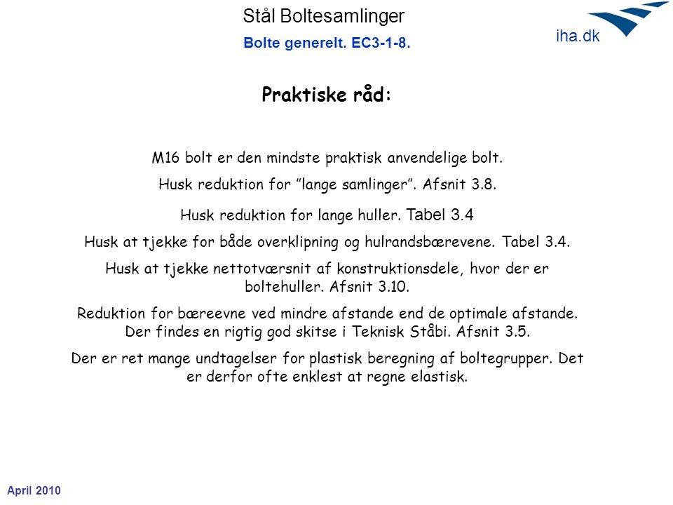 Praktiske råd: Bolte generelt. EC3-1-8.