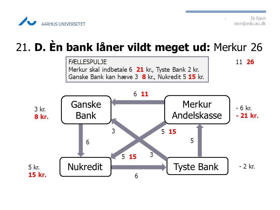 21. D. Èn bank låner vildt meget ud: Merkur 26