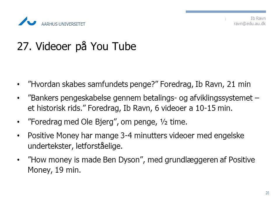 27. Videoer på You Tube Hvordan skabes samfundets penge Foredrag, Ib Ravn, 21 min.
