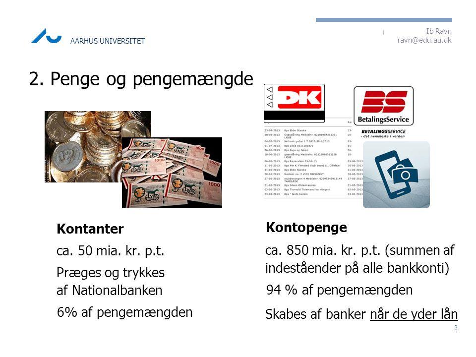 2. Penge og pengemængde Kontanter Kontopenge ca. 50 mia. kr. p.t.