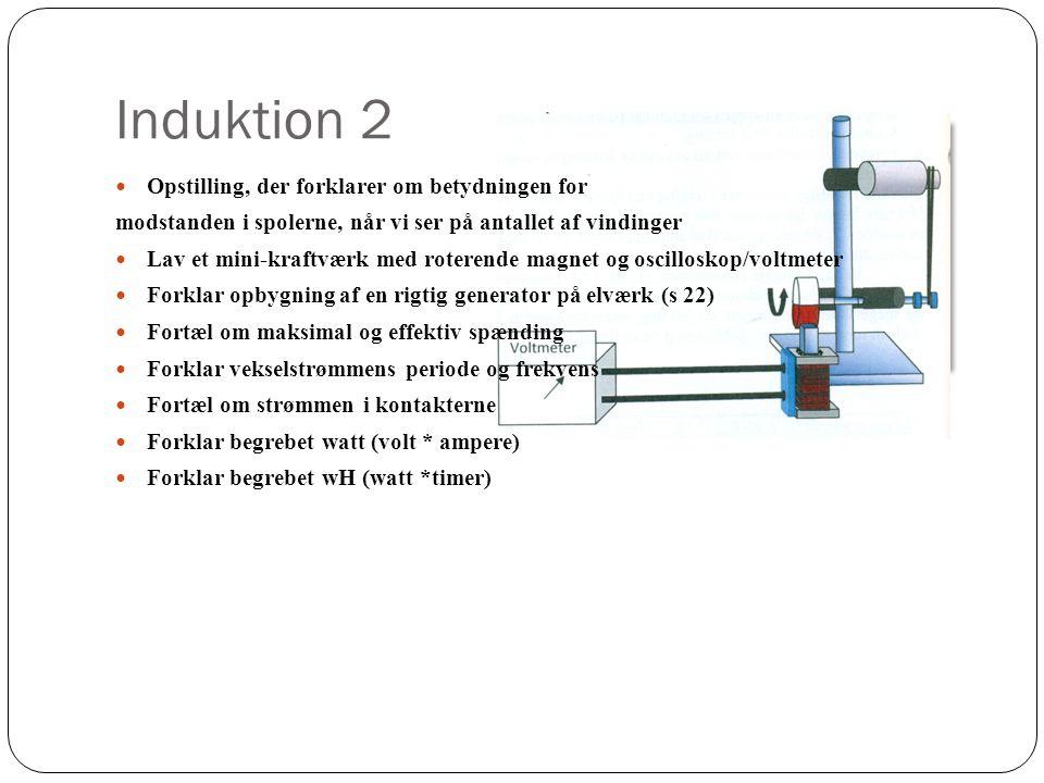 Induktion 2 Opstilling, der forklarer om betydningen for