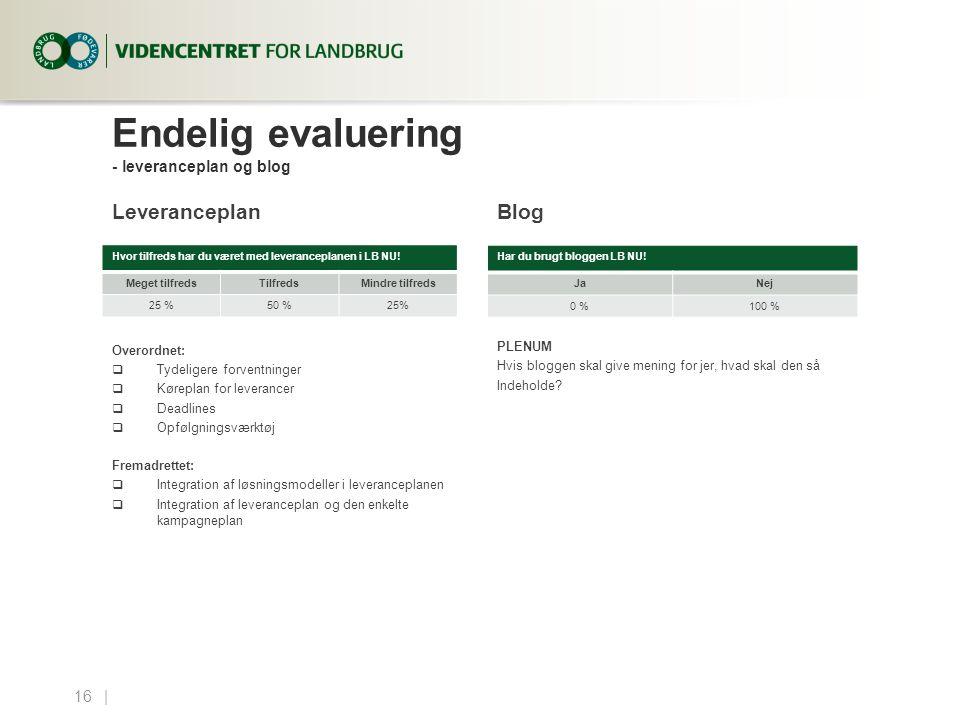 Endelig evaluering - leveranceplan og blog