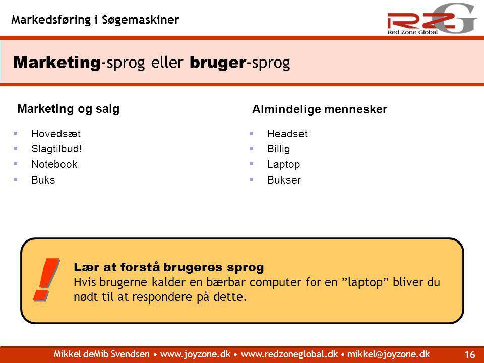 Marketing-sprog eller bruger-sprog