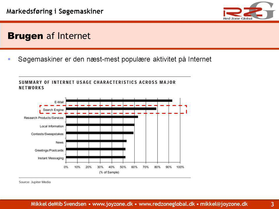 Brugen af Internet Søgemaskiner er den næst-mest populære aktivitet på Internet