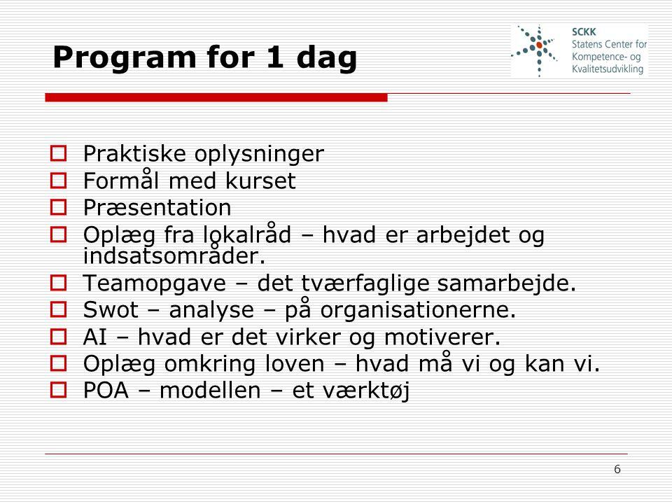 Program for 1 dag Praktiske oplysninger Formål med kurset Præsentation