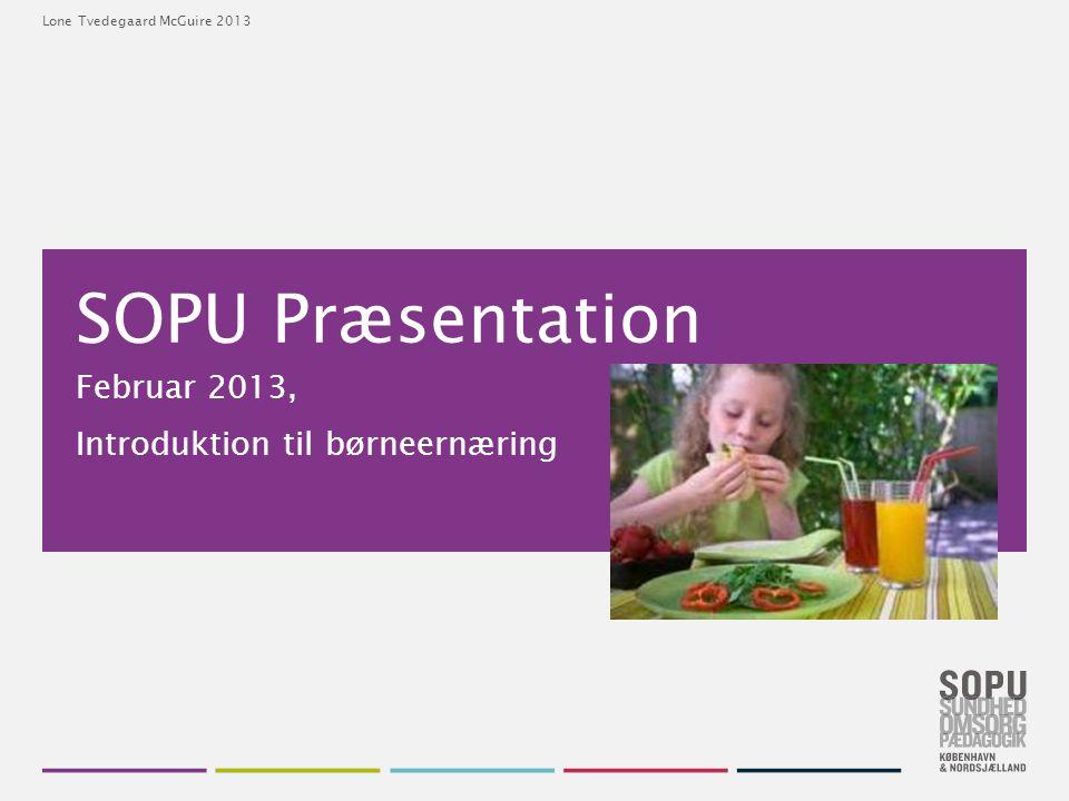 Februar 2013, Introduktion til børneernæring