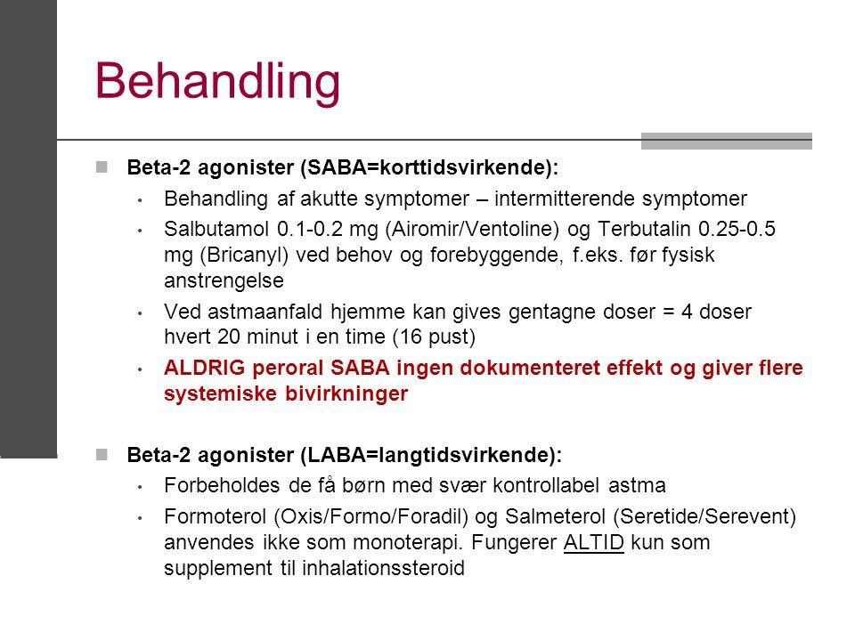Behandling Beta-2 agonister (SABA=korttidsvirkende):