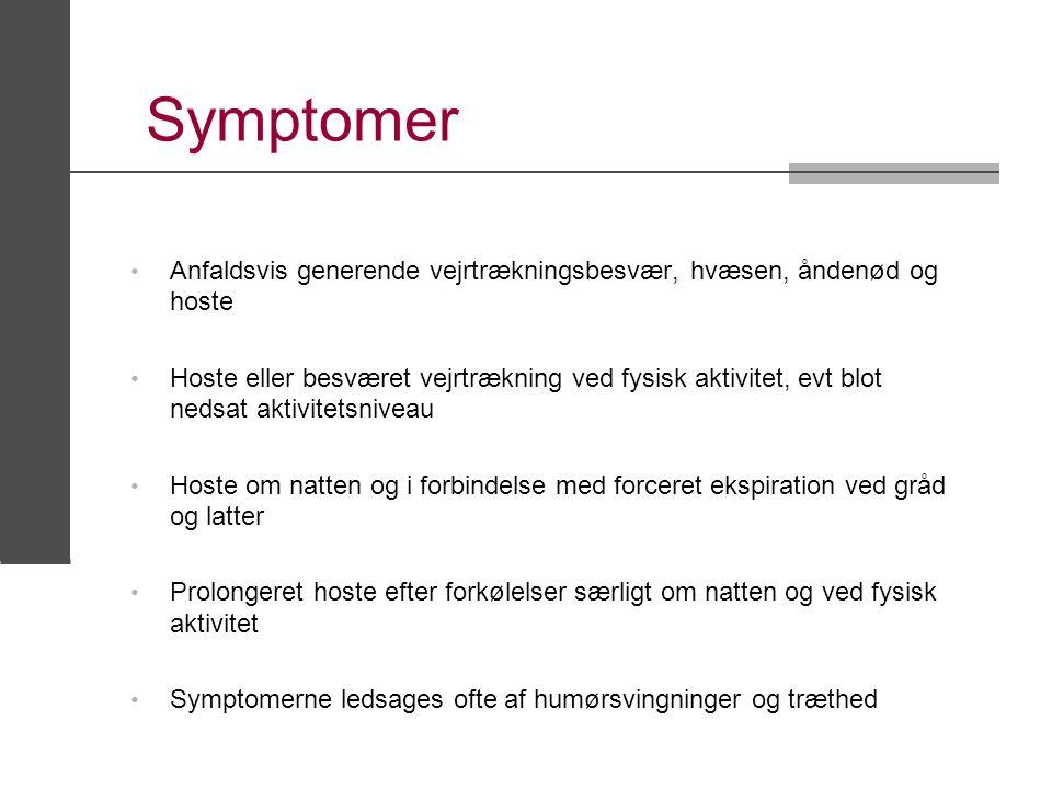 Symptomer Anfaldsvis generende vejrtrækningsbesvær, hvæsen, åndenød og hoste.