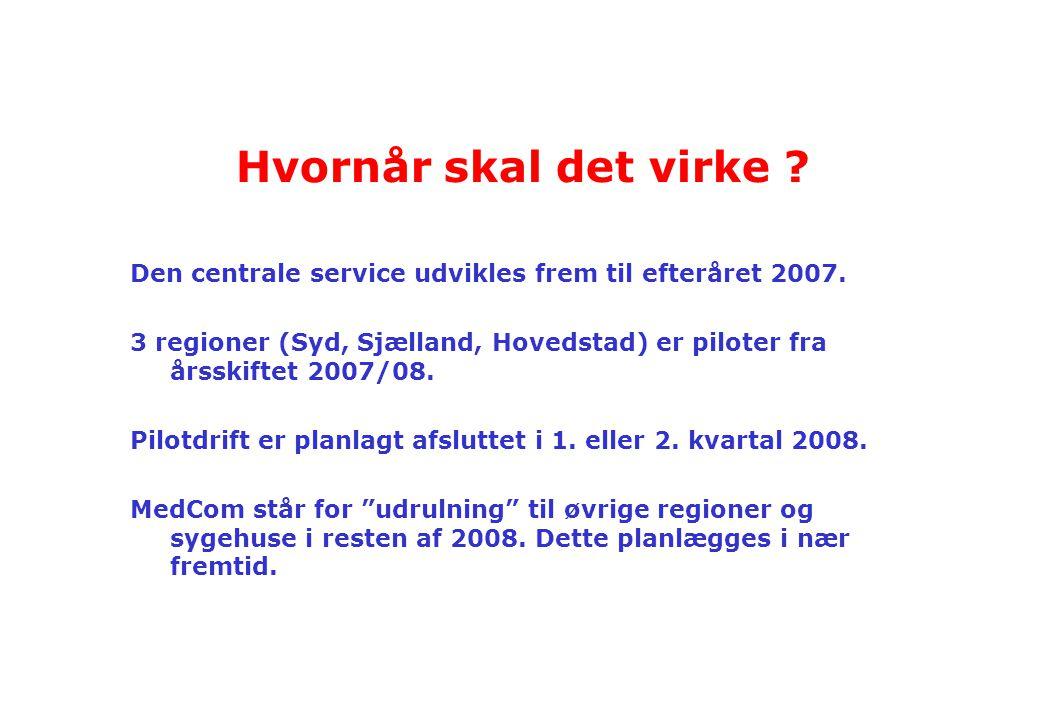 Hvornår skal det virke Den centrale service udvikles frem til efteråret 2007.