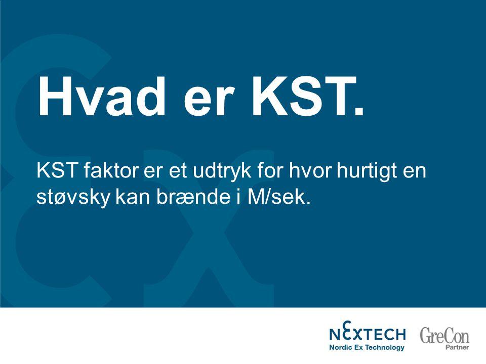 Hvad er KST. KST faktor er et udtryk for hvor hurtigt en støvsky kan brænde i M/sek.