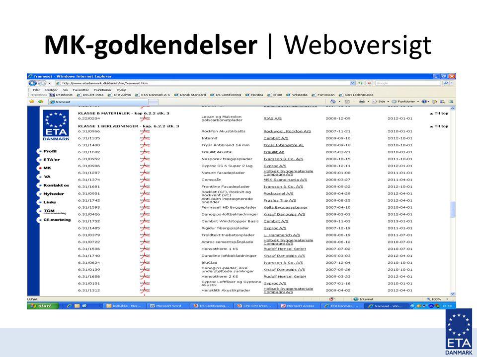MK-godkendelser | Weboversigt