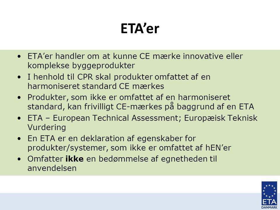 ETA'er ETA'er handler om at kunne CE mærke innovative eller komplekse byggeprodukter.