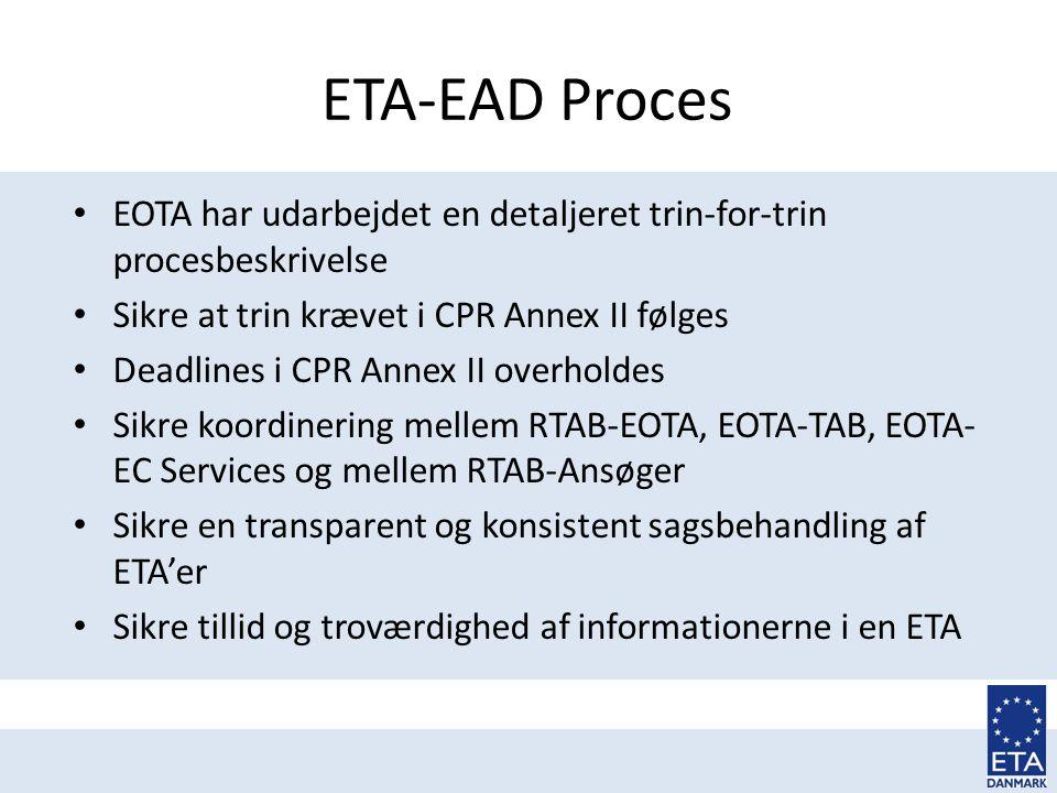 ETA-EAD Proces EOTA har udarbejdet en detaljeret trin-for-trin procesbeskrivelse. Sikre at trin krævet i CPR Annex II følges.