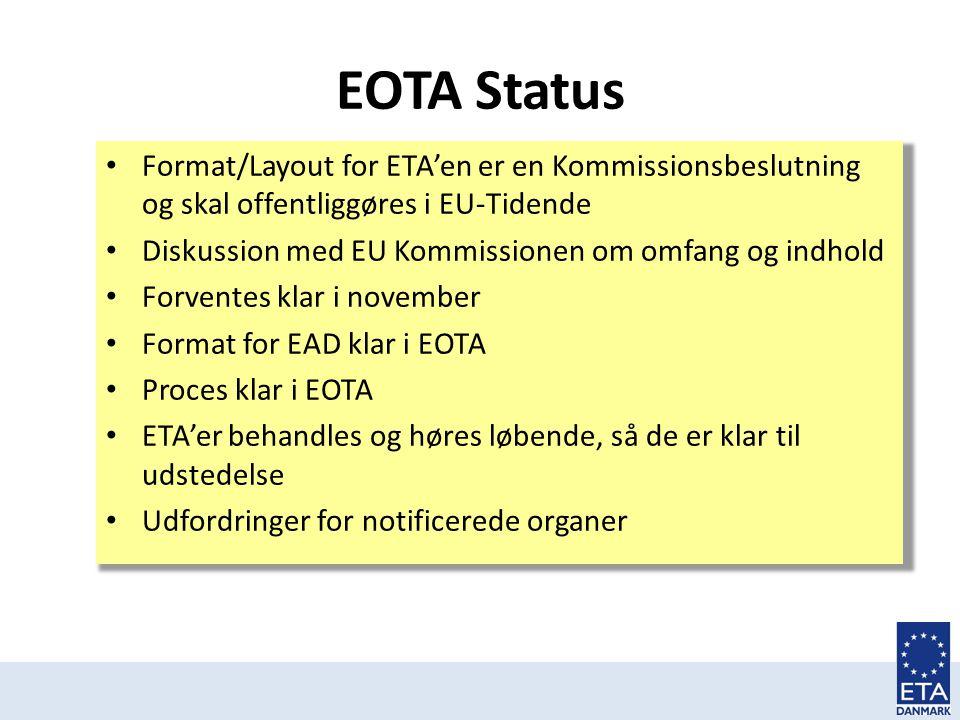 EOTA Status Format/Layout for ETA'en er en Kommissionsbeslutning og skal offentliggøres i EU-Tidende.