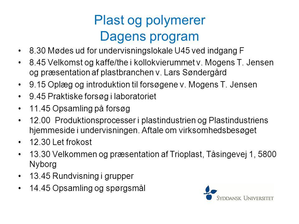 Plast og polymerer Dagens program