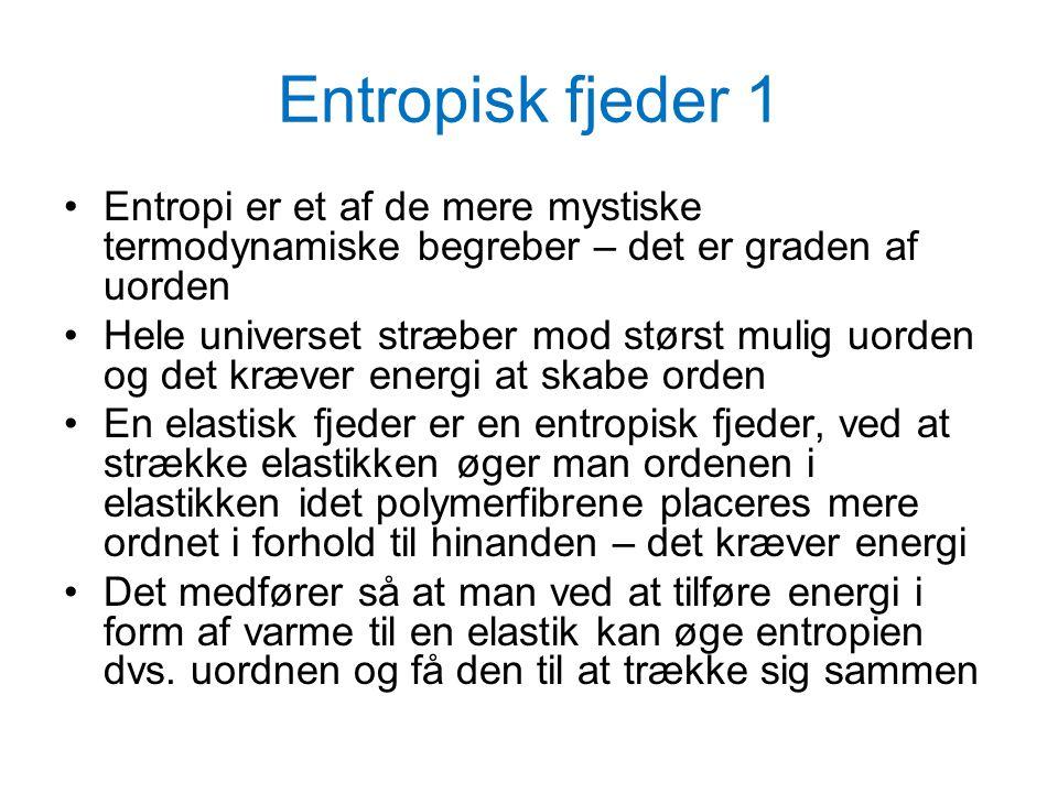 Entropisk fjeder 1 Entropi er et af de mere mystiske termodynamiske begreber – det er graden af uorden.
