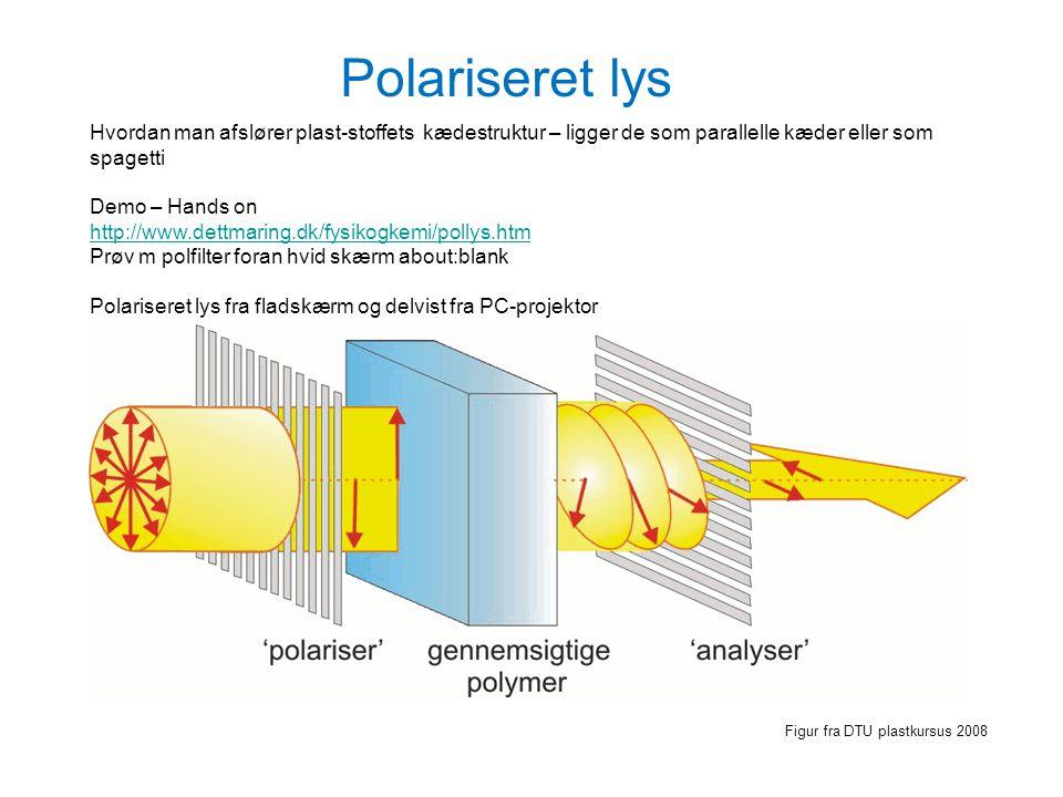 Polariseret lys Hvordan man afslører plast-stoffets kædestruktur – ligger de som parallelle kæder eller som spagetti.