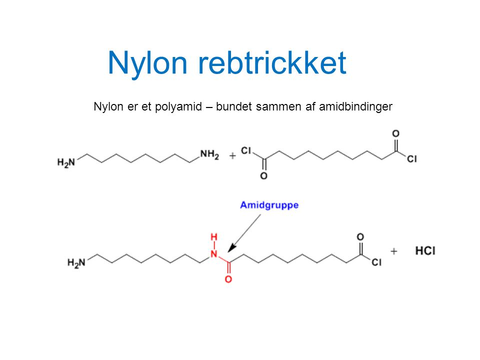 Nylon rebtrickket Nylon er et polyamid – bundet sammen af amidbindinger