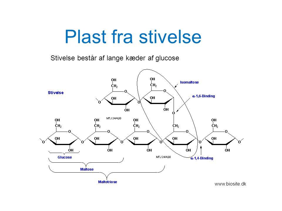 Plast fra stivelse Stivelse består af lange kæder af glucose