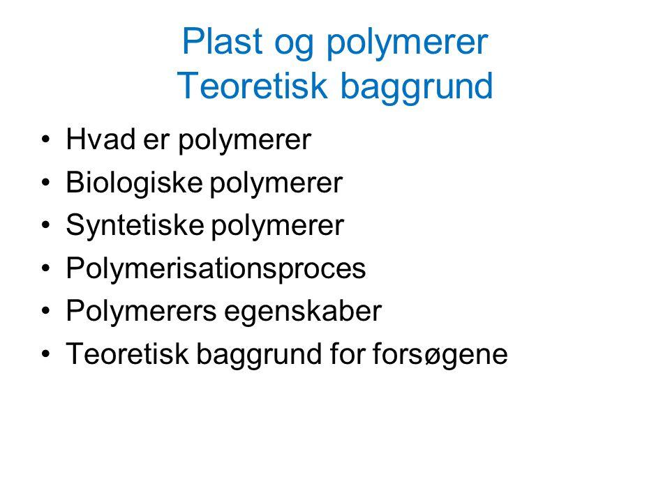 Plast og polymerer Teoretisk baggrund