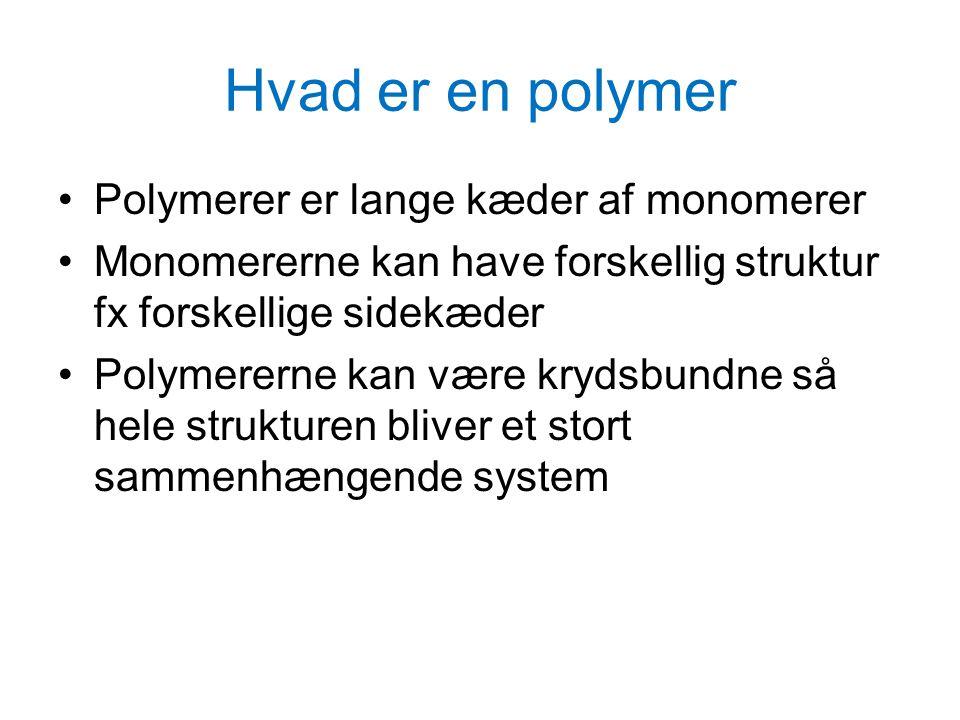 Hvad er en polymer Polymerer er lange kæder af monomerer