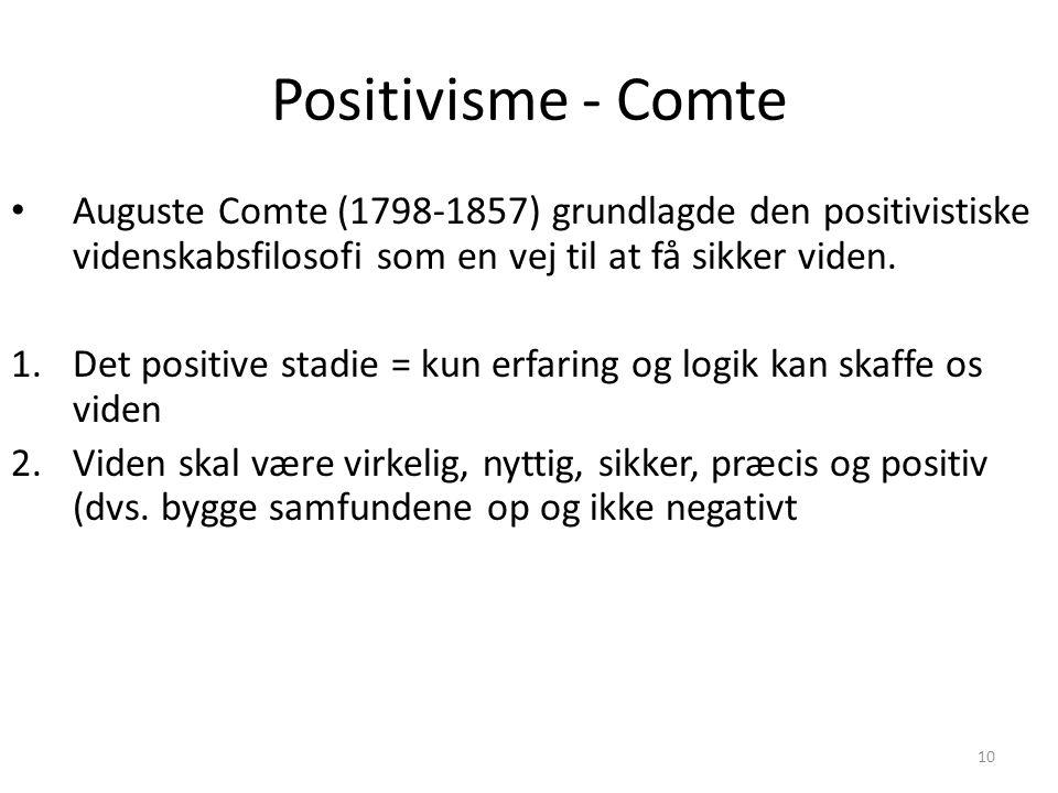 Positivisme - Comte Auguste Comte (1798-1857) grundlagde den positivistiske videnskabsfilosofi som en vej til at få sikker viden.