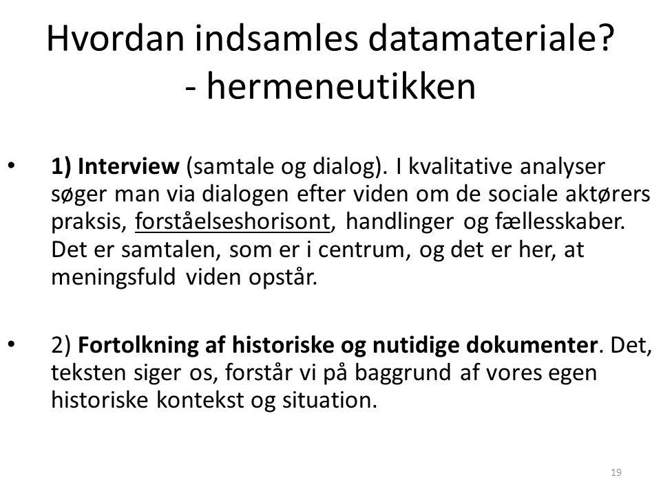 Hvordan indsamles datamateriale - hermeneutikken