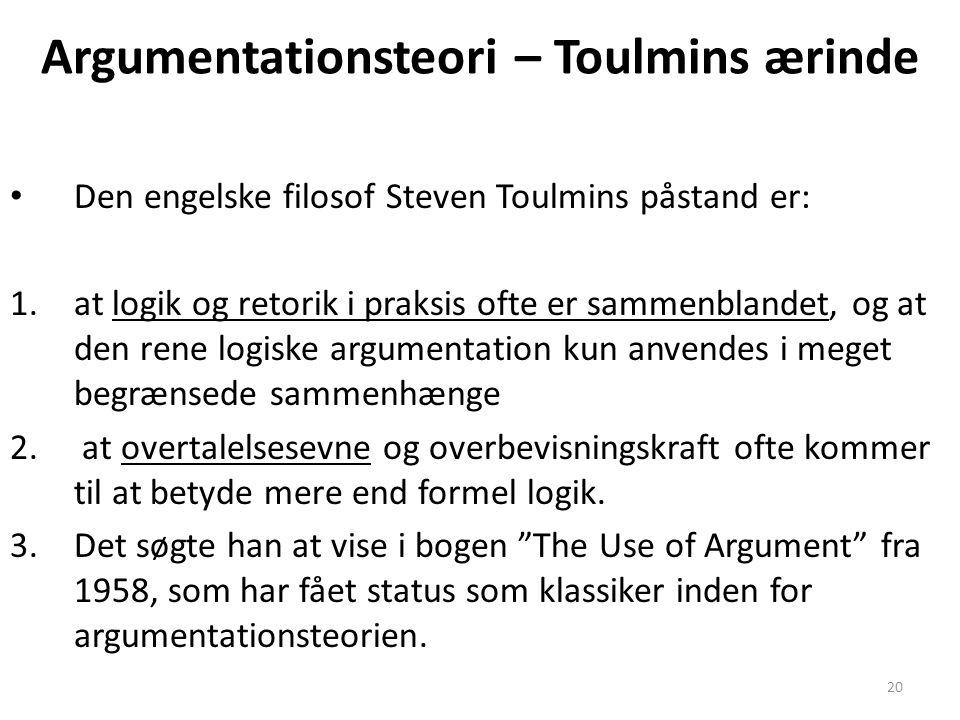 Argumentationsteori – Toulmins ærinde