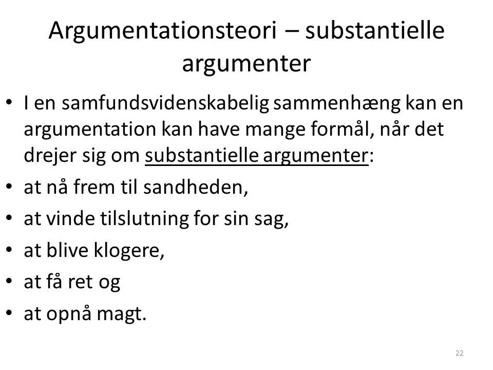 Argumentationsteori – substantielle argumenter