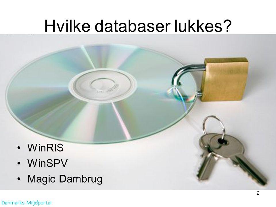 Hvilke databaser lukkes