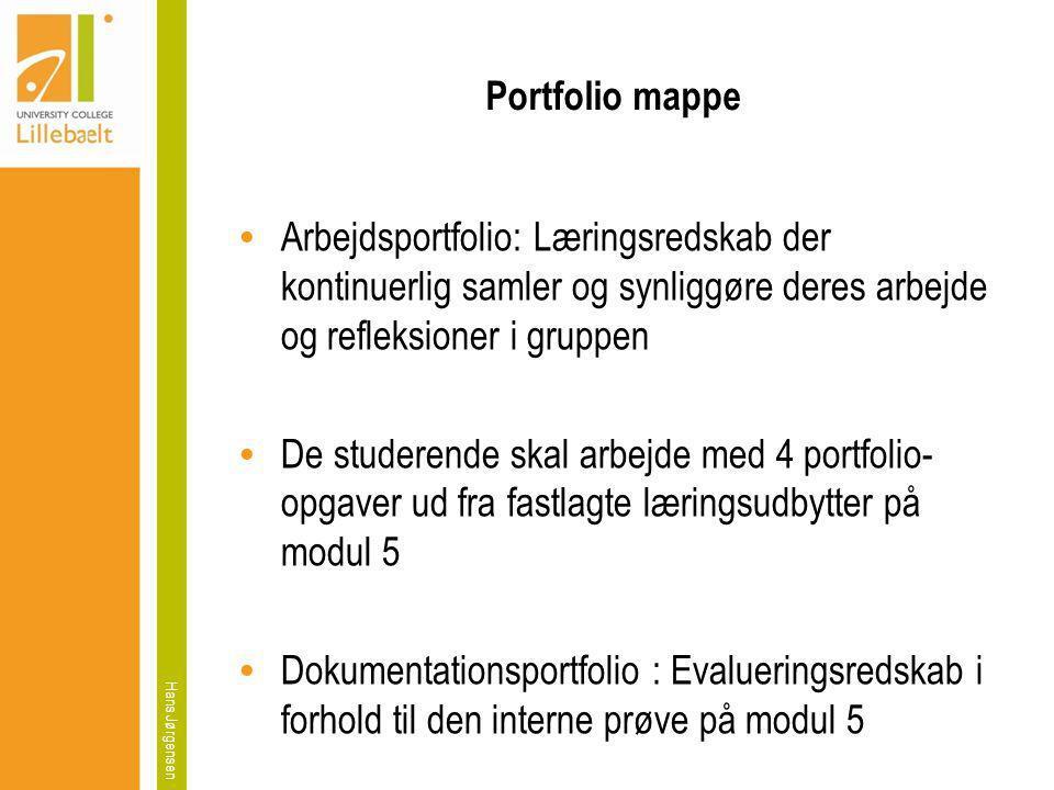 Portfolio mappe Arbejdsportfolio: Læringsredskab der kontinuerlig samler og synliggøre deres arbejde og refleksioner i gruppen.