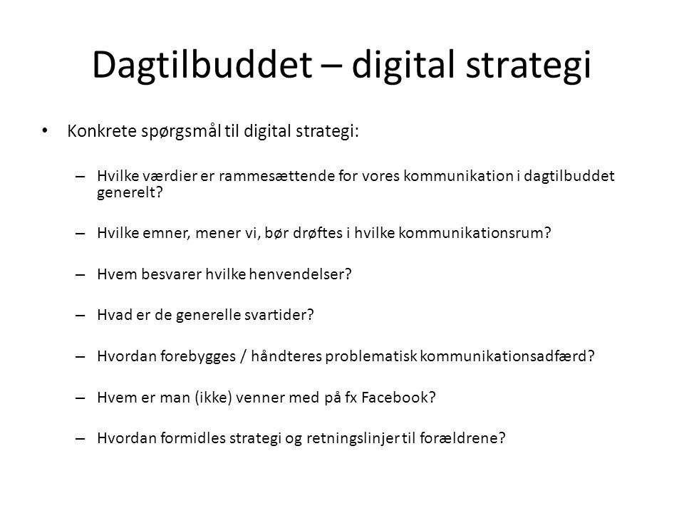 Dagtilbuddet – digital strategi