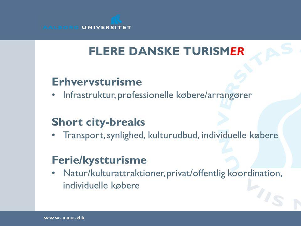 FLERE DANSKE TURISMER Erhvervsturisme Short city-breaks